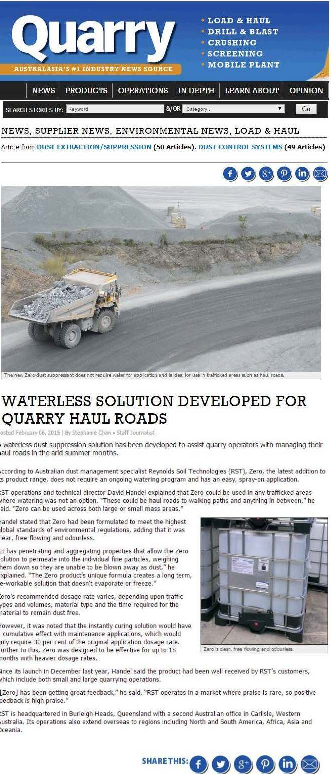 Waterless solution developed for quarry haul roads