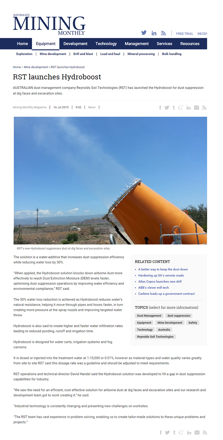RST Launches Hydroboost for Dust Suppression