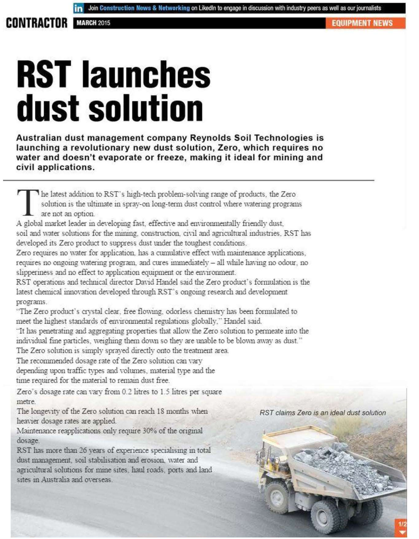RST launches dust solution