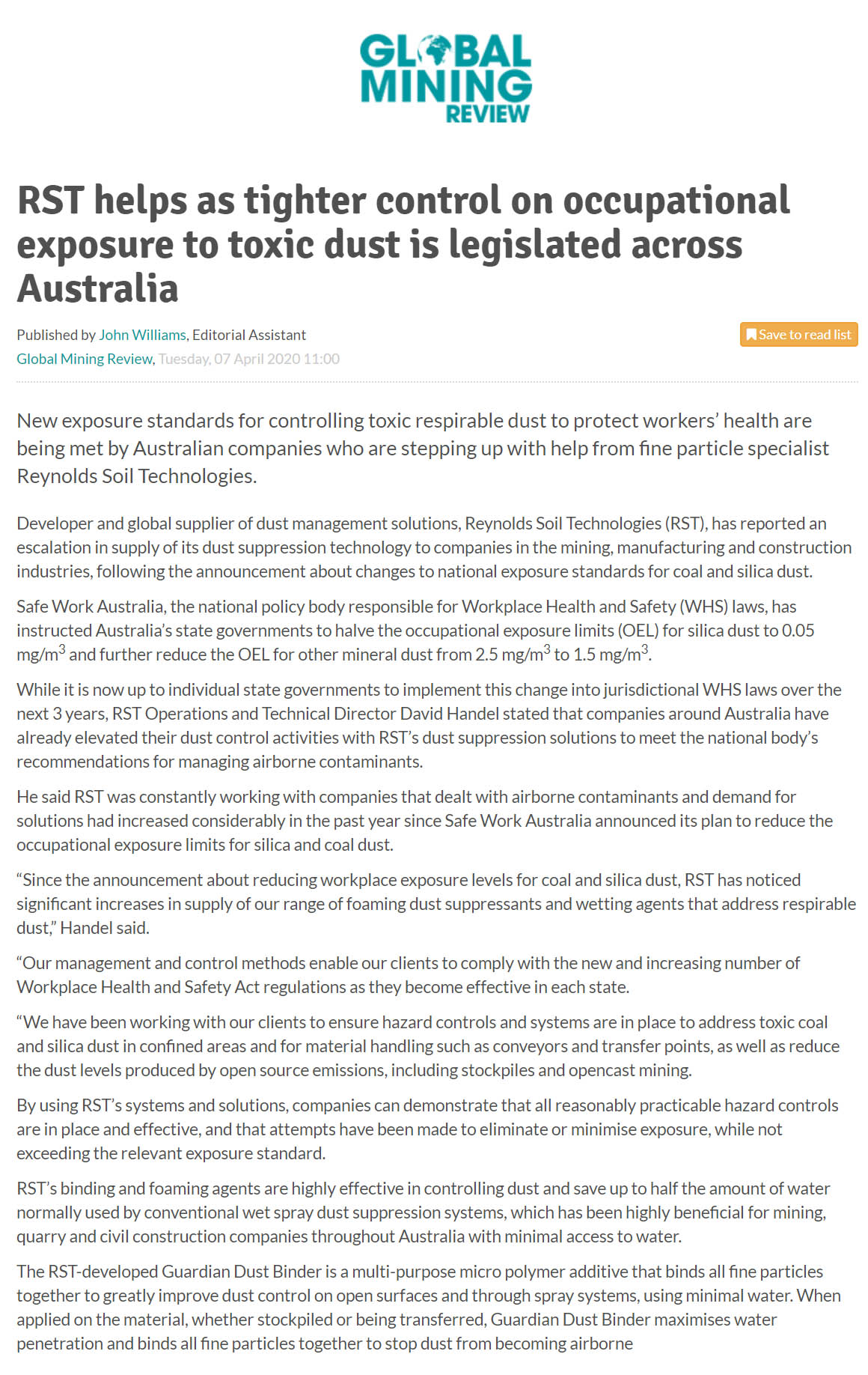 RST Helps as Tighter Control on Occupational Exposure to Toxic Dust is Legislated Across Australia (GMR)