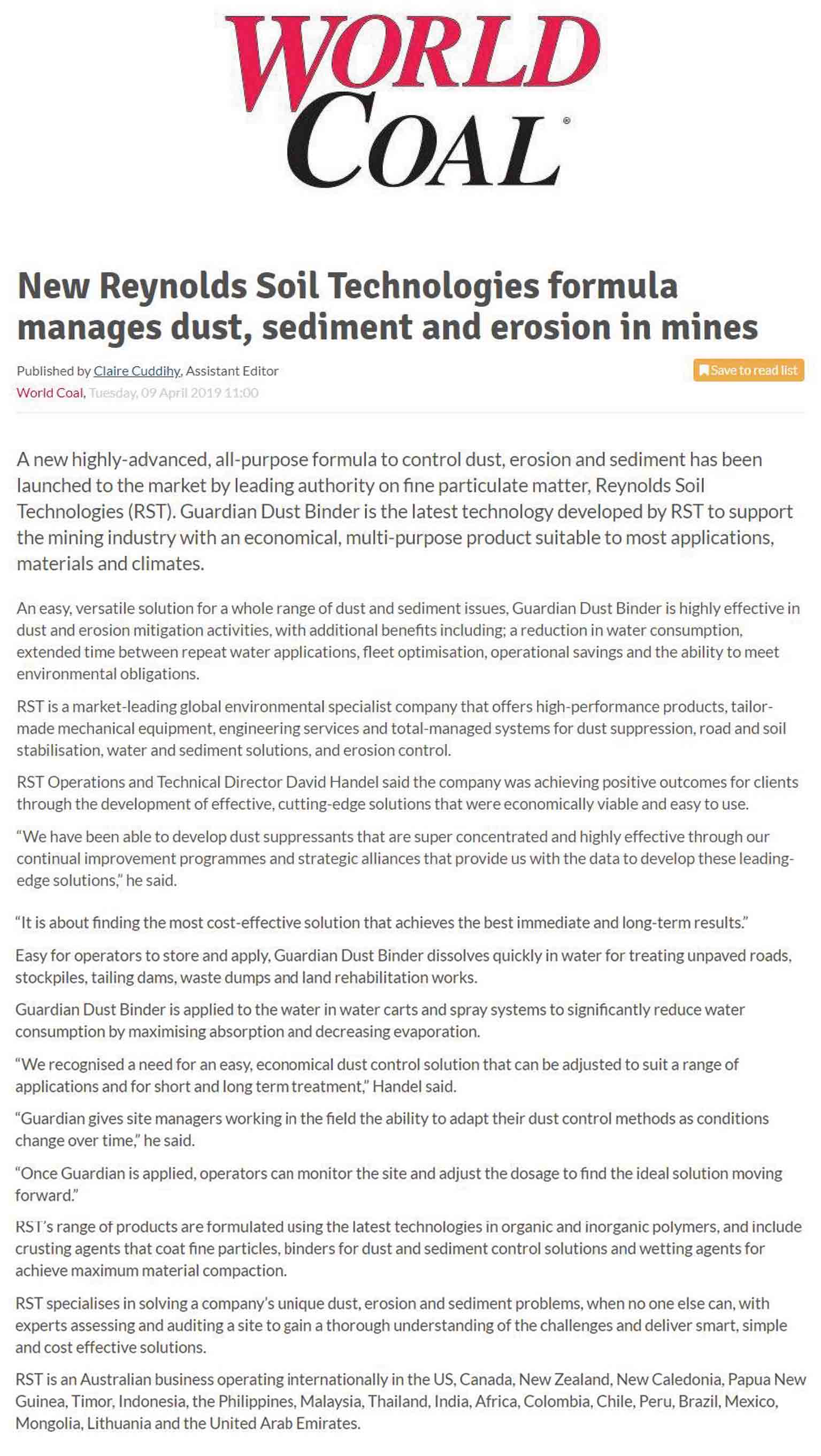 New Reynolds Soil Technologies Formula Manages Dust, Sediment and Erosion in Mines