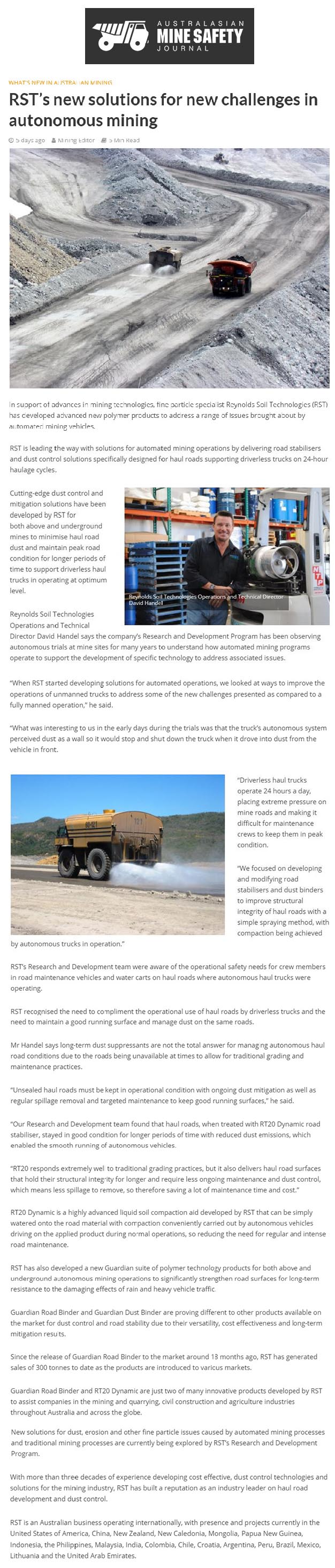 RST's New Solutions for New Challenges in Autonomous Mining