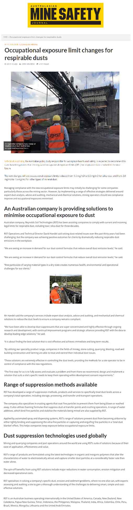 Occupational Exposure Limit Changes for Respirable Dusts