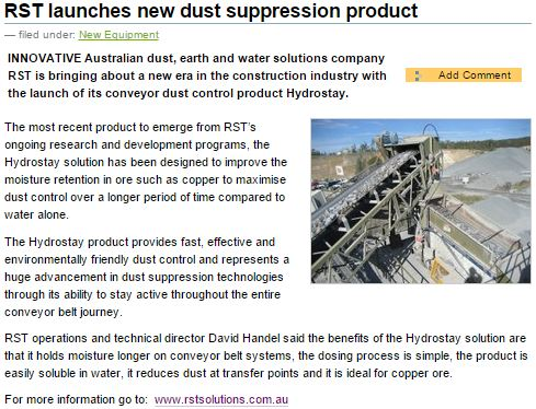 RST launches new dust suppression product