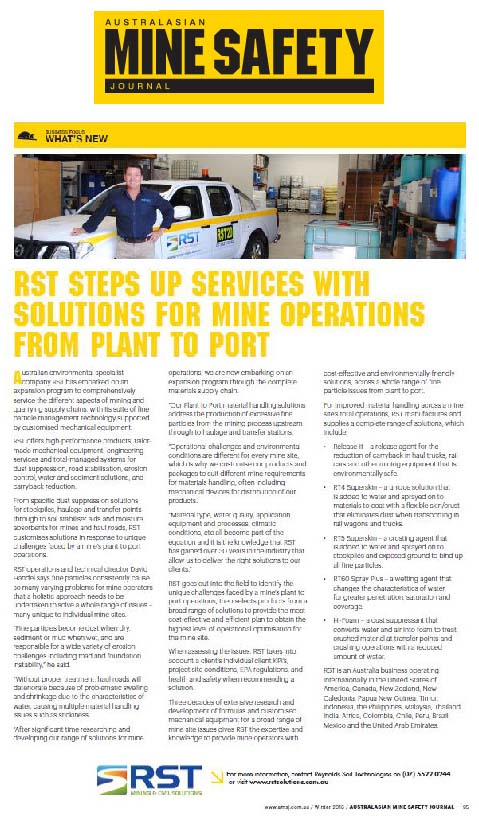 RST Steps Up Services with Solutions for Mine Operations from Plant to Port (AMSJ)