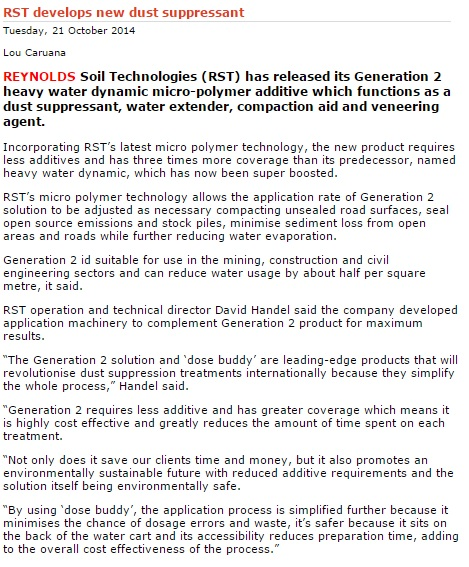 2014 October - International Coal News (online) - Gen 2 Heavy Water Dynamic