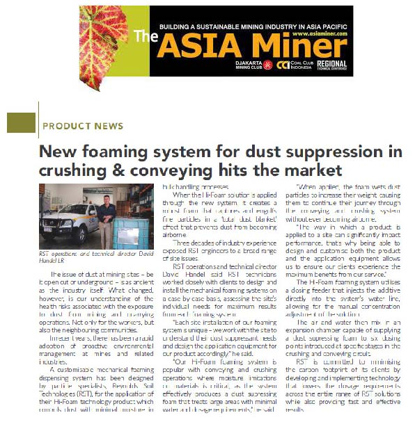 New Foaming System for Dust Suppression in Crushing & Conveying Hits the Market