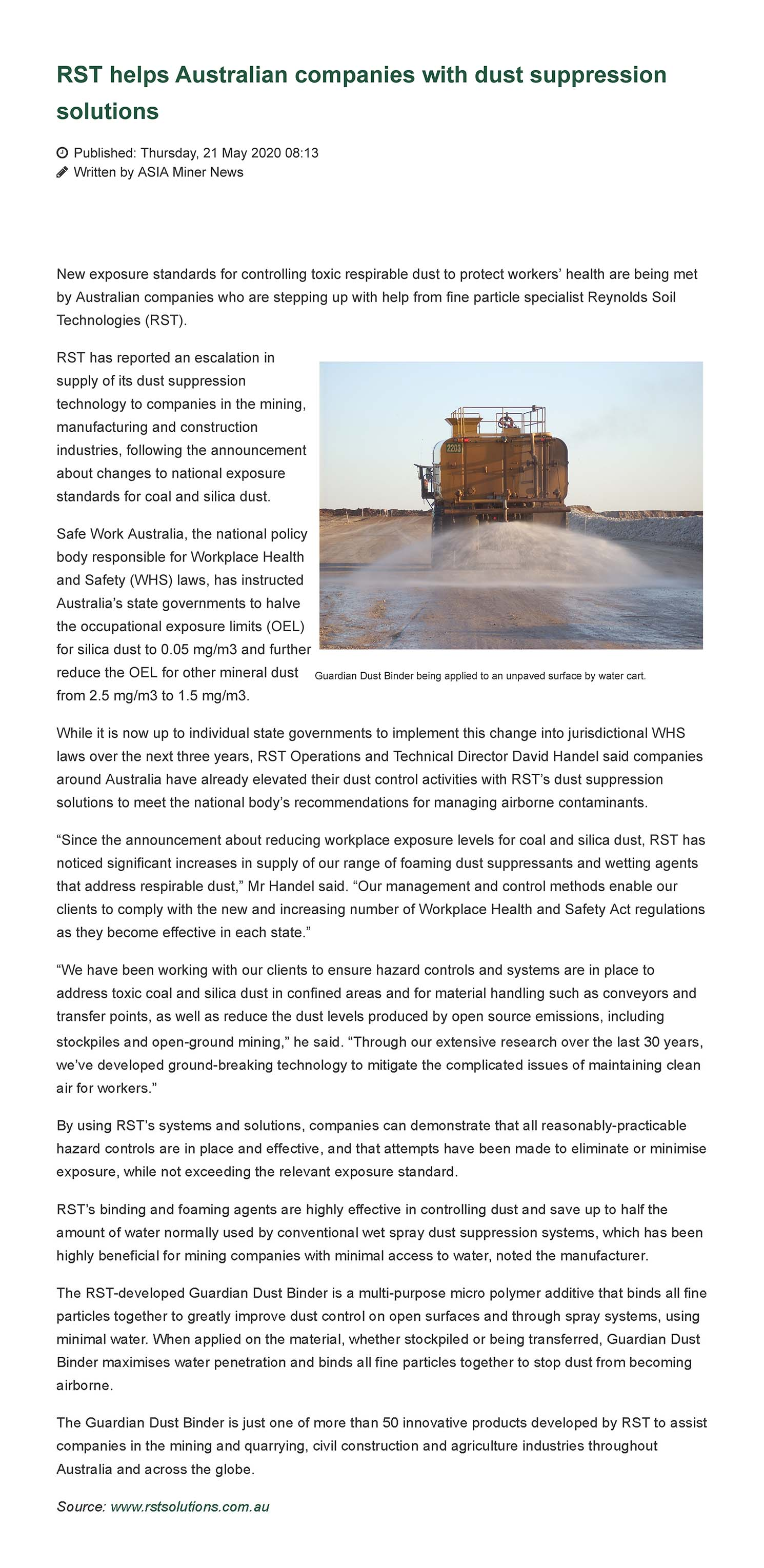 RST Helps Australian Companies with Dust Suppression Solutions
