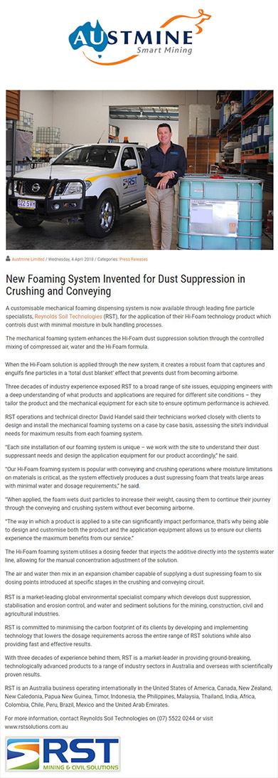 New Foaming System Invented for Dust Suppression in Crushing and Conveying