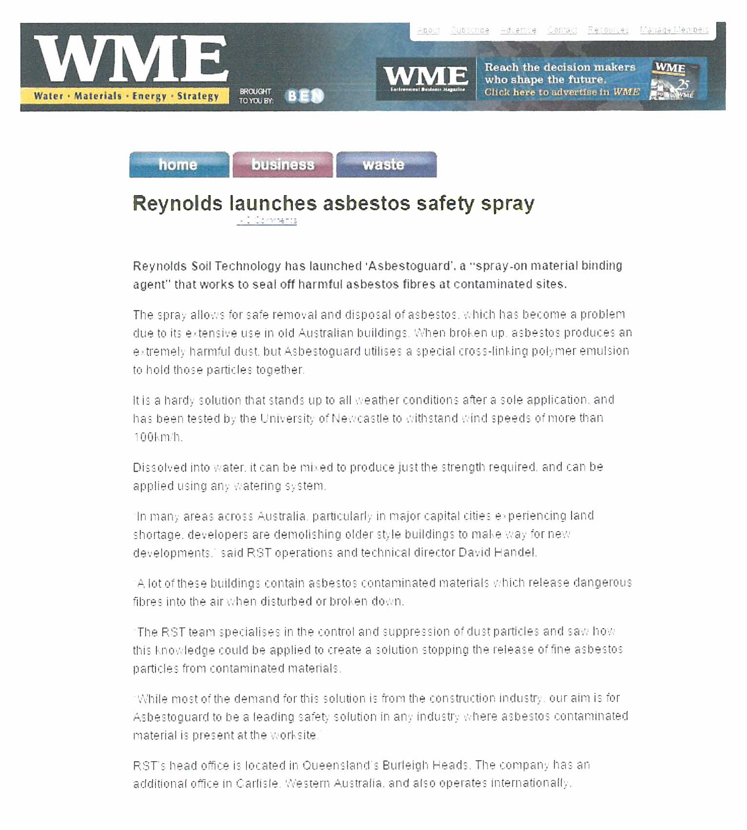 Reynolds Launches Asbestos Safety Spray