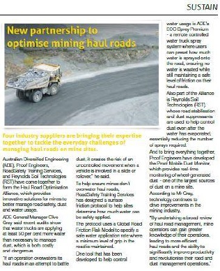 New partnership to optimise mining haul roads