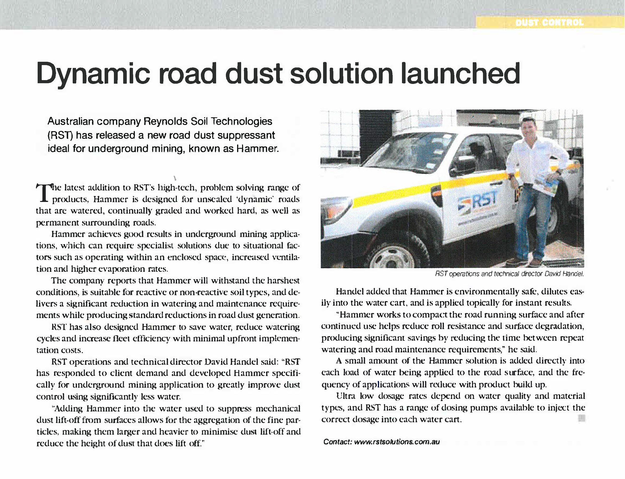 Dynamic road dust solution launched