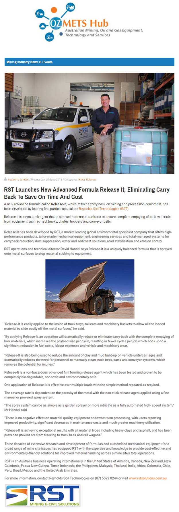 RST Launches New Advanced Formula Release-It; Eliminating Carry-Back to Save On Time and Cost