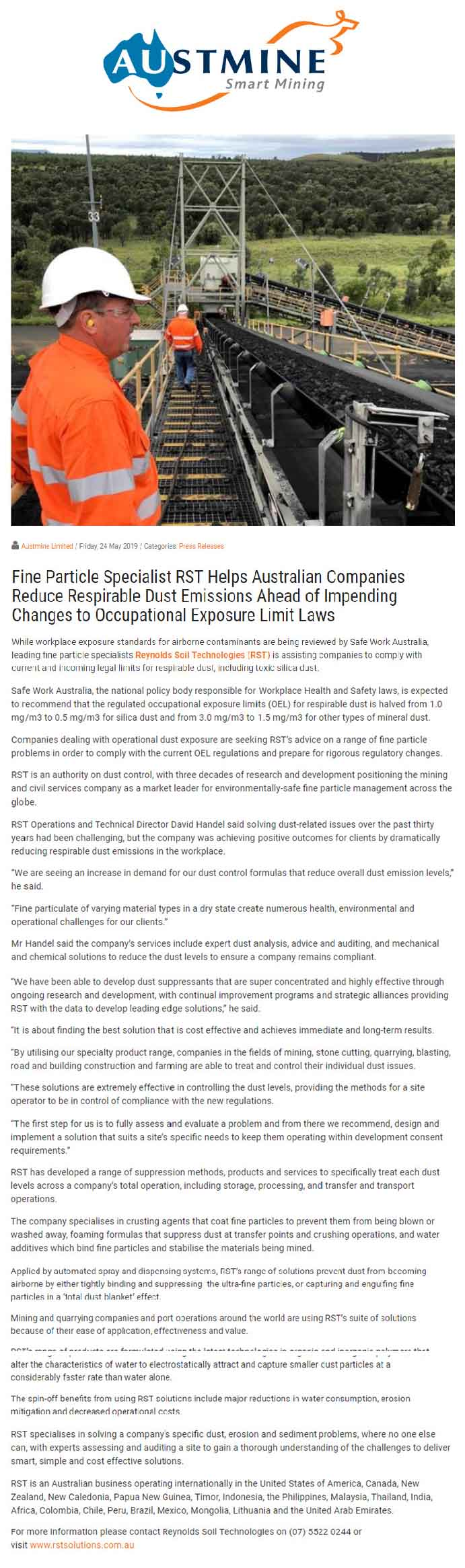 Fine Particle Specialist RST Helps Australian Companies Reduce Respirable Dust Emissions Ahead of Impending Changes to Occupational Exposure Limit Laws