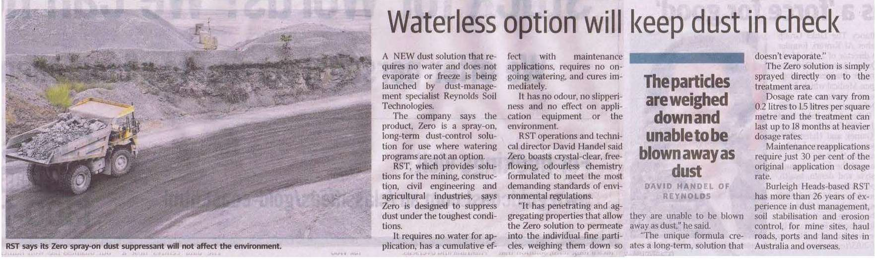 Waterless option will keep dust in check