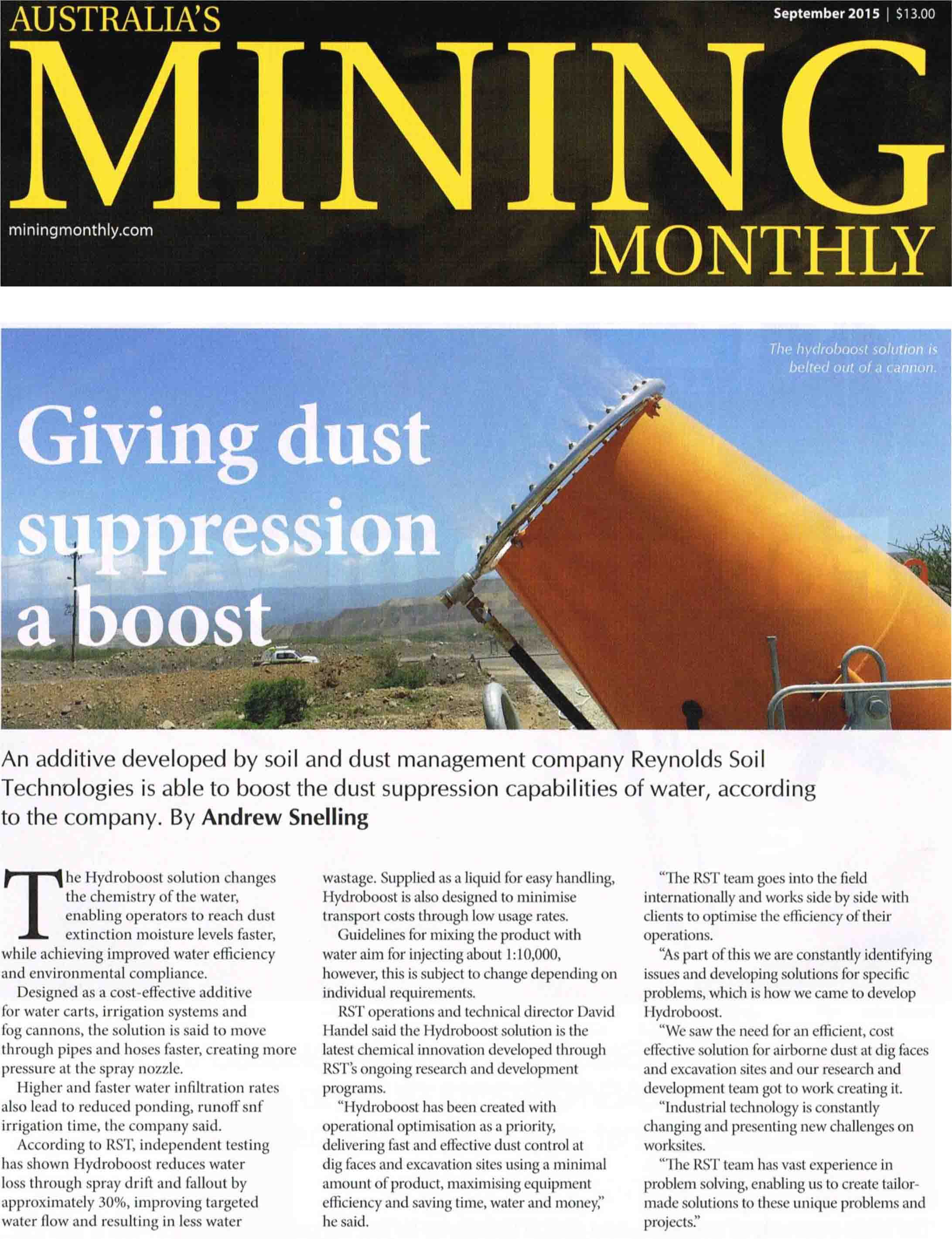 Giving dust suppression a boost