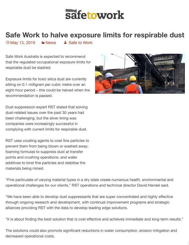 Safe Work to Halve Exposure Limits for Respirable Dust