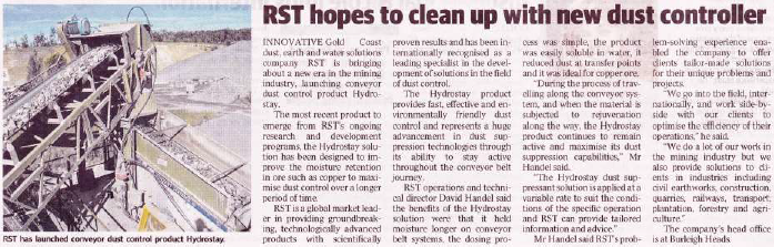 RST hopes to clean up with new dust controller