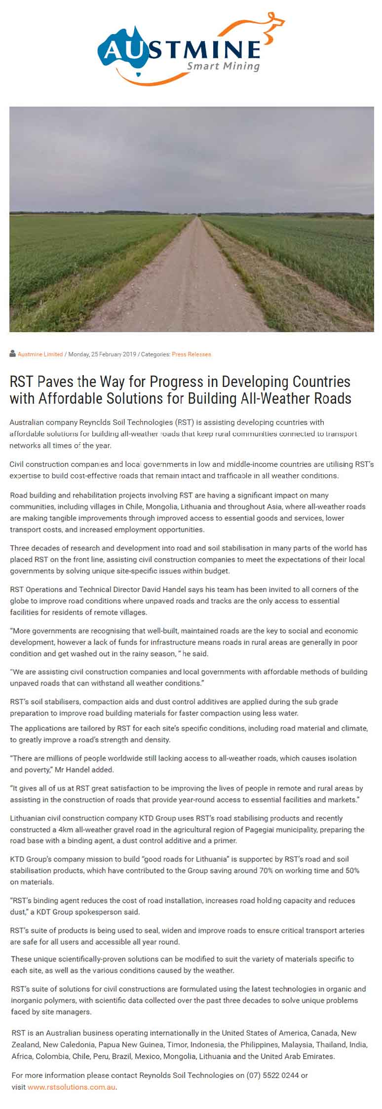 RST Paves the Way for Progress in Developing Countries with Affordable Solutions for Building All-Weather Roads (Austmine)