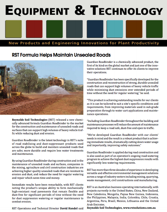 RST Formula Helps Maintain Unsealed Roads