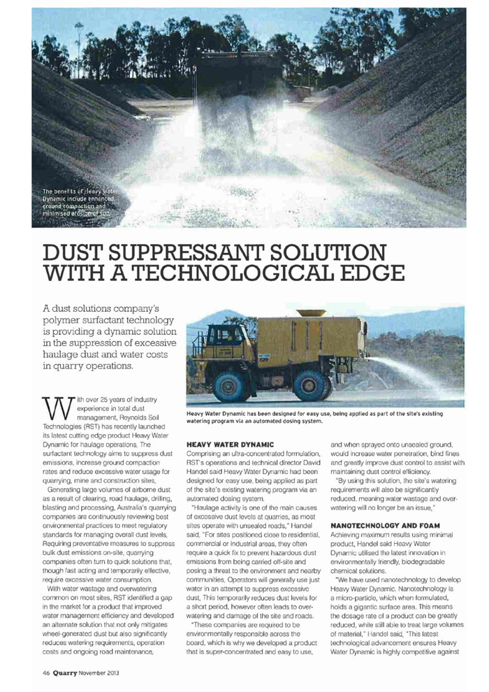 2013 November Edition - Quarry Magazine, Reynolds Soil Technologies article - page 46-47-1